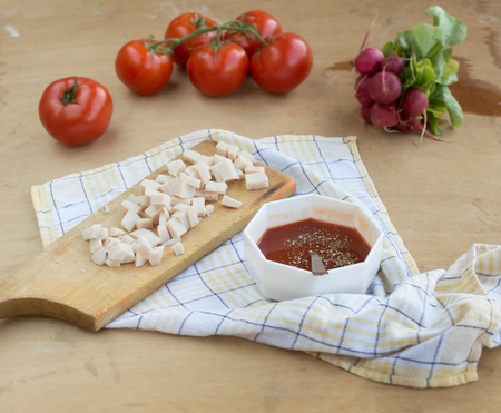 Ingredients for pasta or pizza ready to use
