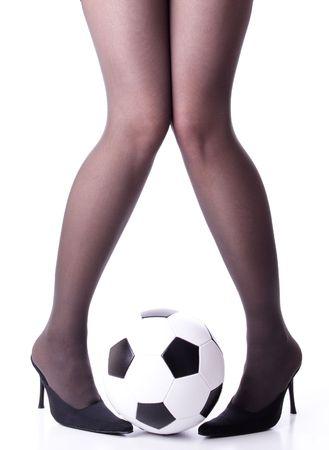 belles jambes: Football jambes  Banque d'images