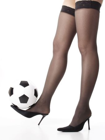 stockings woman: legs with soccer ball