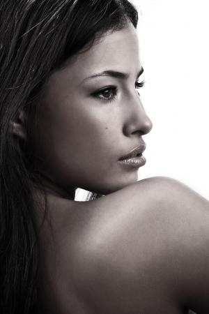 visage profil: beau portrait de femme, profil Banque d'images