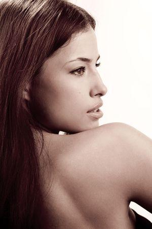 beautiful  young woman portrait, profile Stock Photo - 3389003