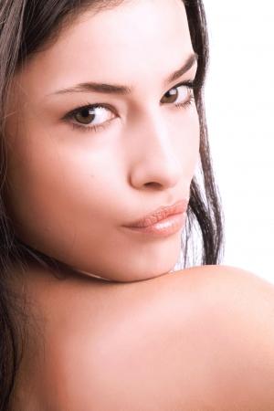 black hair young woman portrait, studio shot Stock Photo - 3388945
