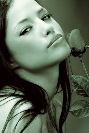duo: beautiful woman with rose portrait, duo colors Stock Photo