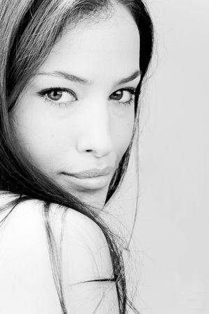 bw: beautiful young woman portrait, bw Stock Photo