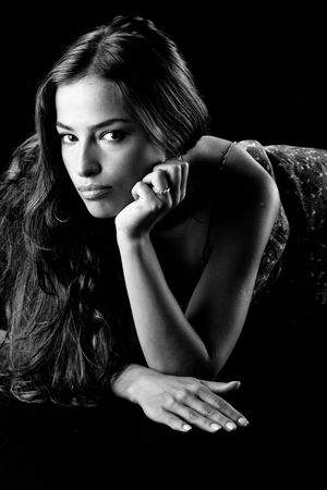 beautiful woman portrait in black and white photo