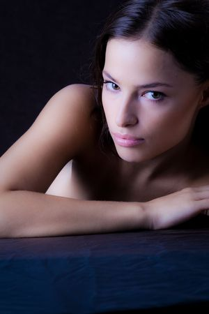 beautiful young woman portrait in dark Stock Photo - 3640982