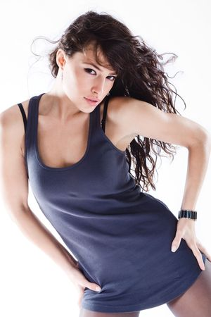 young beautiful woman in motion Stock Photo - 4023386