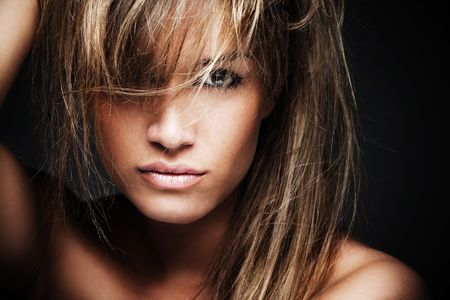 hot girl nude: wild beautiful blond woman portrait