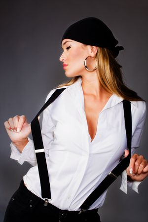 suspenders: blond woman in white shirt and black suspenders and head scarf