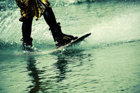 man skiing on the lake  photo