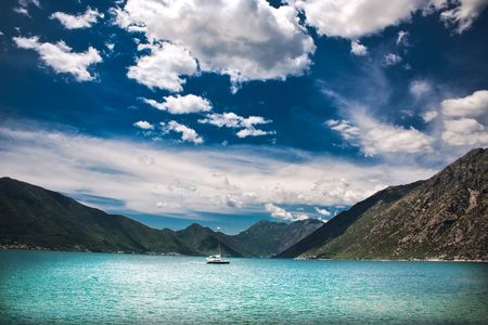 seascape of Boka Kotorska bay in Montenegro photo