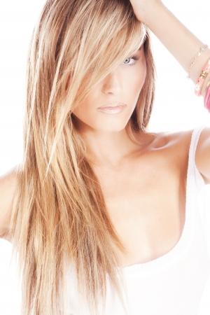 fijne blonde vrouw, portret, studio-wit
