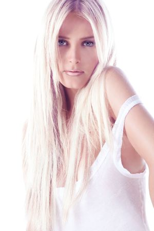 long black hair: young blond woman on white backround Stock Photo