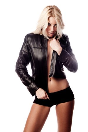 babe: sexy blond woman in black leather jacket