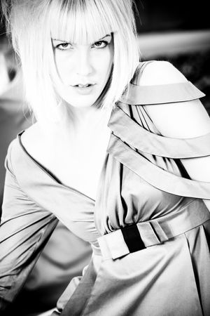 fashion blond woman portrait in black and white Stock Photo - 5877176