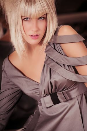 young blond woman in fashionable drress Stock Photo - 5877170