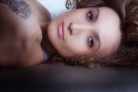 lovely young woman portrait, indoor shot Stock Photo - 5877174
