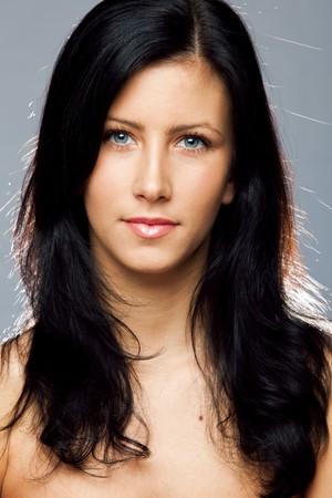 young beautiful black hair blue eyes woman beauty portrait Stock Photo - 7021256