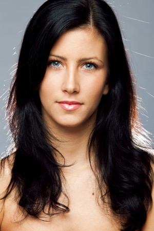 young beautiful black hair blue eyes woman beauty portrait