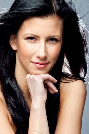 black hair blue eyes: young beautiful black hair blue eyes woman beauty portrait