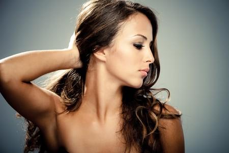 brunets: young brunette woman beauty portrait profile studio shot