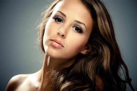 young brunette beauty  woman portrait, studio shot Stock Photo - 7445065