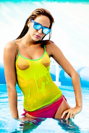 bikini pool: young woman in swimming pool