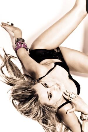 beautiful blond in black lingerie, studio shot photo