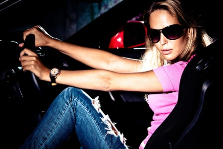 young woman in a car photo