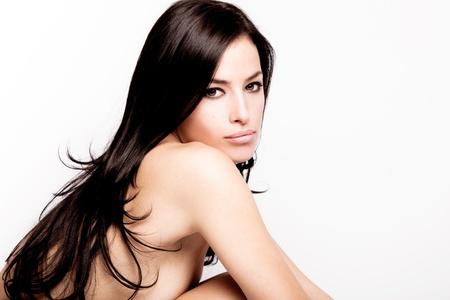 schwarze frau nackt: junge schwarze Haare Frau Portrait sch�nheit, Studio shot Lizenzfreie Bilder