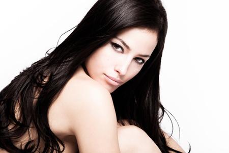 young black hair woman beauty portrait , studio shot photo