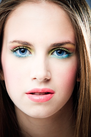 blue eyes young woman beauty portrait, close up, studio shot Stock Photo - 9165308