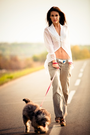 khaki pants: young woman with little dog on the road walking, summer day sunset