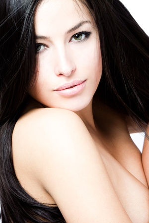 young black hair woman beauty portrait, studio shot photo