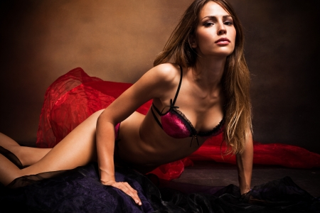 blonde underwear: sensual woman in underwear studio shot dark background