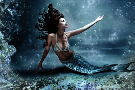 underwater diving: mythology being, mermaid in underwater scene, photo compilation