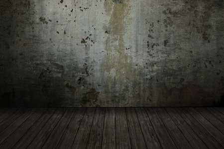 cracked cement: empty grunge room with scratched wall and decking floor Stock Photo