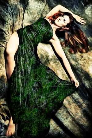 fantasy redhead woman, studio shot Stock Photo - 11313840