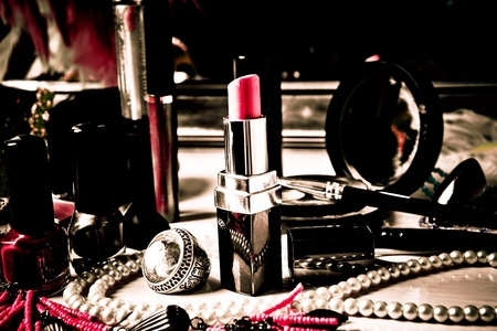 make up and jewelry on dressing table  Stock Photo - 11687459