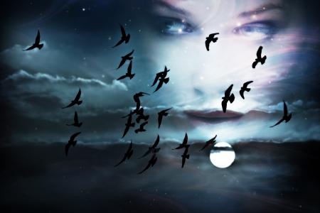 hemel, vogels, volle maan en vrouw gezicht, samengesteld uit twee foto's