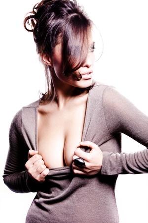 beautiful breasts: beautiful alluring sexy brunette, studio white background Stock Photo