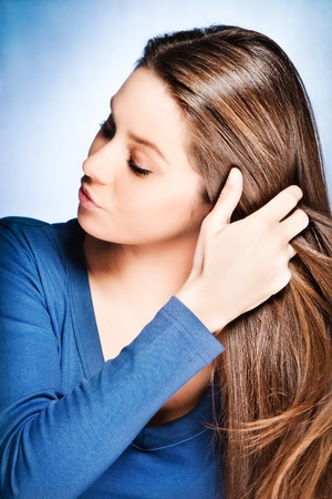 brunette young woman with long healthy hair, studio shot Stock Photo - 12177013