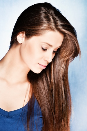 brunette young woman with long healthy hair, studio shot Stock Photo - 12177010