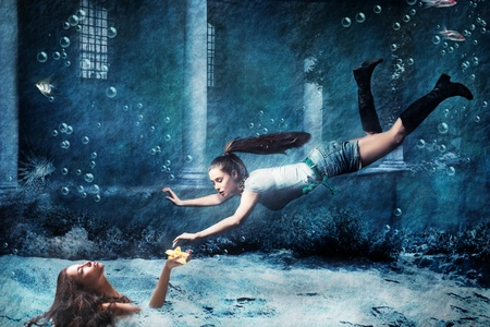 entity: underwater fantasy scene, photo combined