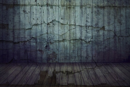 empty grunge room with cracked wall and decking floor Stock Photo - 12406664