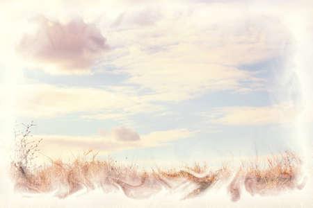 an overlay: paisaje de verano con la hierba amarilla, cielo azul y las nubes, una peque�a cantidad de grano a�adido y la superposici�n de texturas