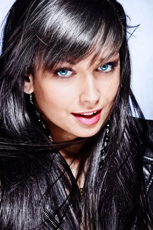 black hair young woman with beautiful big blue eyes portrait Stock Photo - 12933887