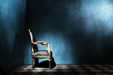 Louis style armchair in blue room with tiled floor Stock Photo - 12956574