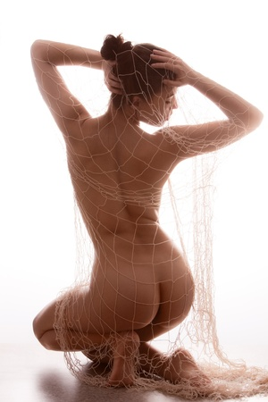 nude woman back: beautiful nude young woman  covered with net, back view, full body shot, white studio Stock Photo