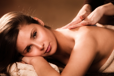 woman enjoy in  back massage in spa Stock Photo - 13385604